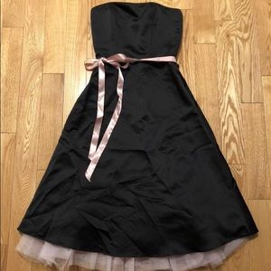 Satin A-line Dress with Rose